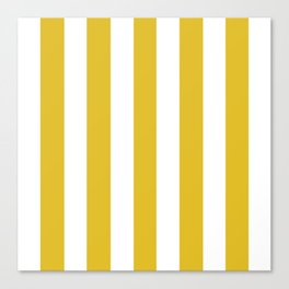 Durian Yellow - solid color - white vertical lines pattern Canvas Print