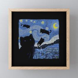 The Starry Cat Night Framed Mini Art Print
