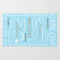 cape cod Area & Throw Rugs featuring Cape Cod Typography Print by ELIZABETH THOMAS Photography of Cape Cod