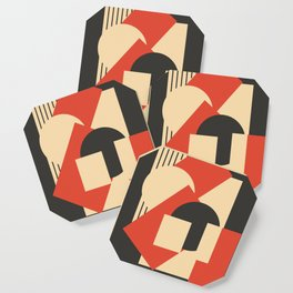 Geometrical abstract art deco mash-up scarlet beige Coaster