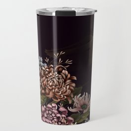 Chrysanthemums, butterflies and Glittery Red Temple Chinoiserie Travel Mug