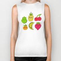 fruits Biker Tanks featuring Kawaii Fruits by Ornaart