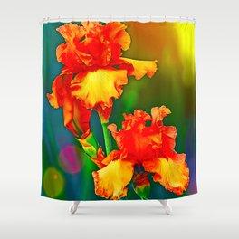 Electrified Orange Iris in the Garden Shower Curtain