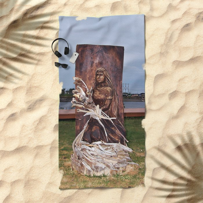 Driftwood Flower Lady Beach Towel