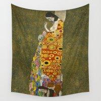 klimt Wall Tapestries featuring Hope II by Gustav Klimt  by Palazzo Art Gallery