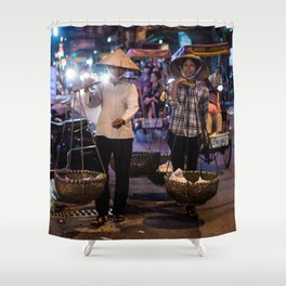 Women selling food in the streets of Hanoi Shower Curtain