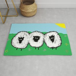 3 Sheep in a Meadow Rug