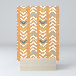 Abstract Chevron - Beach Vibes Orange and Blue Mini Art Print