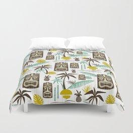 Island Tiki - White Duvet Cover