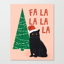 Black Cat cute fa la la christmas xmas tree holiday funny cat art cat lady gift unique pet gifts Canvas Print