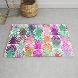 Bright exotic pineapples pastel watercolor pattern Rug