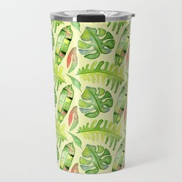 Hand painted green red watercolor tropical cheese leaves Travel Mug