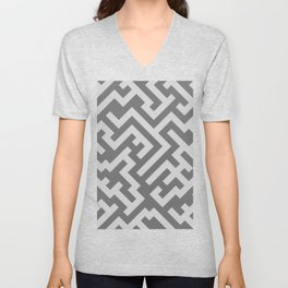 Light Gray and Dark Gray Diagonal Labyrinth Unisex V-Neck