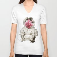 geode V-neck T-shirts featuring Geode Face 3 by hunnydoll
