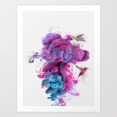 Hummingbirds Ink Art Print