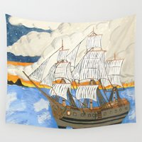 pirate ship Wall Tapestries featuring Pirate Ship At Sea by J&C Creations