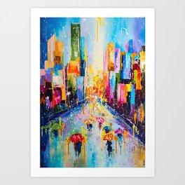 RAINING IN THE CITY Art Print