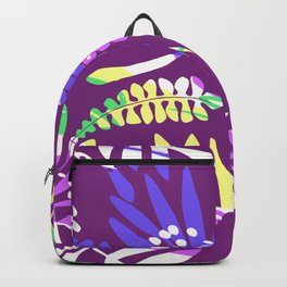 Abstract pink lavender green tropical floral pattern Backpack