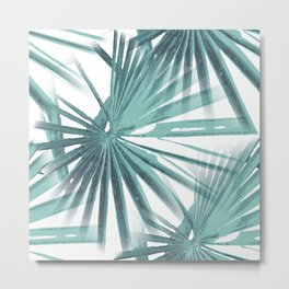 Teal Aqua Tropical Beach Palm Fan Vector Metal Print