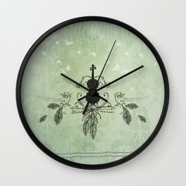 Violin with feathers Wall Clock
