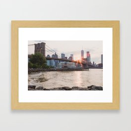 Sunset over Brooklyn Bridge Framed Art Print