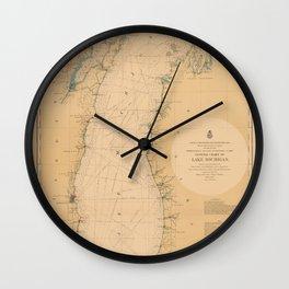 Map of Lake Michigan 1898 Wall Clock