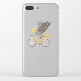 Cockatiel on a Bicycle Clear iPhone Case