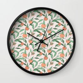 Peach and leaves Wall Clock