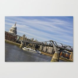The River Thames Uphill  Canvas Print