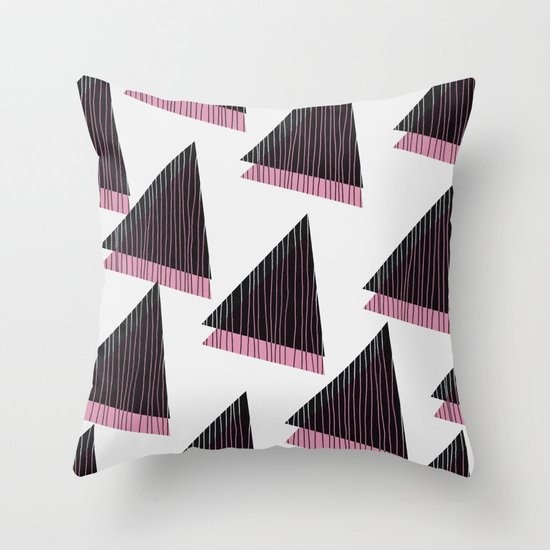 Pink Triangles III Throw Pillow
