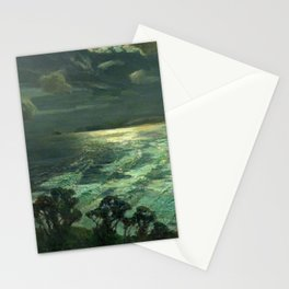 Midnight Moonlight, St Ives' Bay nautical coastal landscape painting by Julius Olsson Stationery Cards