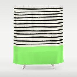 Key Lime x Stripes Shower Curtain