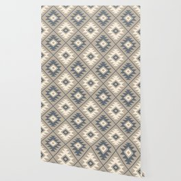 Aztec Symbol Stylized Pattern Blue Cream Sand Wallpaper