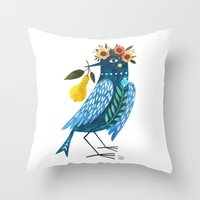 oana befort Throw Pillows featuring BLUE BIRD by Oana Befort