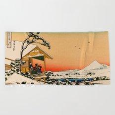 Snow at Koishikawa - Vintage Japanese Art Beach Towel