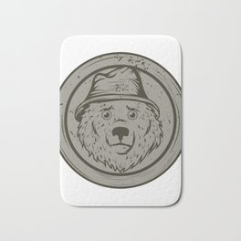 Cool Gift For The Smokey Bear Fan In Your Life T-shirt Design Of A Bear Wearing A Hat In Gray Tone Bath Mat
