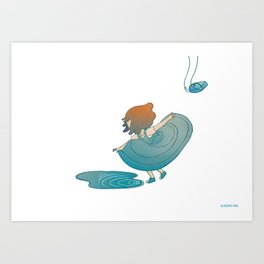 landing right in front of a beautiful puddle. Art Print