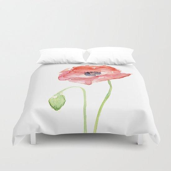 Red Poppy Flower Flowers Duvet Cover