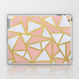 Pink Gold and Marble Geometric Triangles Art Deco Laptop & iPad Skin