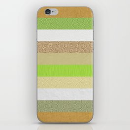 Vintage embossed paper stripes collage iPhone Skin