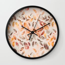 Autumn Feathers watercolor pattern Wall Clock