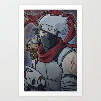 kakashi Art Prints featuring Kakashi and Pakkun by DeanDraws