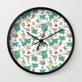 Tropical kitch cocktail pattern Wall Clock