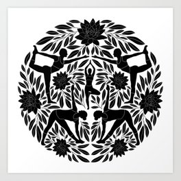 d3fb2a4d31acc Yoga Girls Illustration with Lotus Flowers and Leaves // Black and White  Art Print