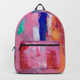 Lucky #13, a contemporary abstract in pinks and fuchsias Backpack