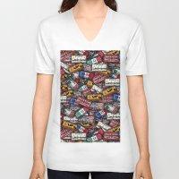country V-neck T-shirts featuring country plates by Eduardo Doreni