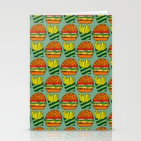vegetarian Stationery Cards featuring burger vegetarian and french fries by fmppstudio