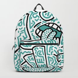 """""""The Face"""" - inspired by Keith Haring v. teal Backpack"""