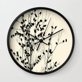Simple  ivory black tree branches cute birds Wall Clock