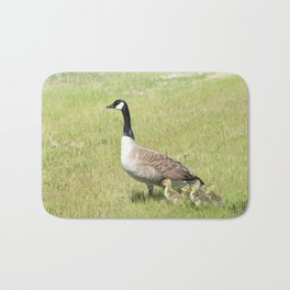 Canada Geese, Mother and Babies Bath Mat